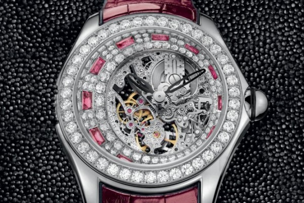 High Jewellery Skeleton Corum Bubble Ladies Replica Watch Distinguished By Baguette-cut Diamonds